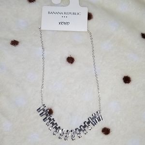 Banana republic silver necklace w rhinestones